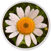 Bright Yellow And White Daisy Flower Abstract Round Beach Towel