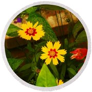 Bright Yellow Flowers Round Beach Towel