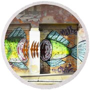 Brightly Colored Fish Mural Round Beach Towel