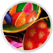 Brightly Painted Bowls At A Market - Mexico - Travel Photography By David Perry Lawrence Round Beach Towel