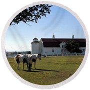 Brighton Barn And Horses Round Beach Towel