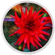 Brilliance In An Autumn Garden - Red Dahlia Round Beach Towel