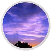 Brilliant Blue Sunrise Round Beach Towel