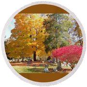 Brilliant Colors In The Cemetery  Round Beach Towel