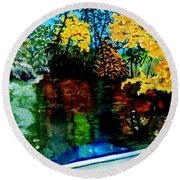 Brilliant Mountain Colors In Reflection Round Beach Towel