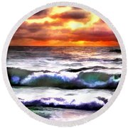 Brilliant Nags Head Sunrise Round Beach Towel