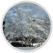 Brilliant Snow Coated Tree Round Beach Towel
