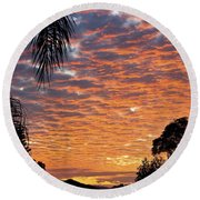 Brilliant Sunset During Winter Round Beach Towel