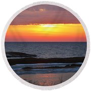 Brilliant Sunset Round Beach Towel