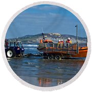 Bringing In The Lifeboat Round Beach Towel