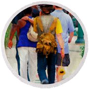 Bringing The Sunflower Home Round Beach Towel