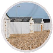 British Beach Huts In Sussex Round Beach Towel