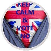 British Businessman Votes No Round Beach Towel