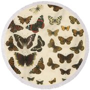 British Butterflies Round Beach Towel