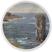 British Coastal View. Coast Of Cornwall Round Beach Towel