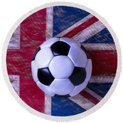 British Flag And Soccer Ball Round Beach Towel