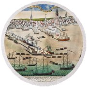 British Landing, 1768 Round Beach Towel