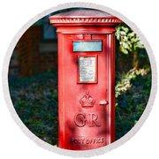 British Mail Box Round Beach Towel