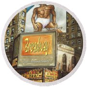 Broadway Billboards - New York Art Round Beach Towel