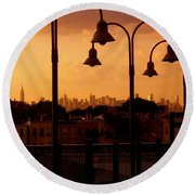Broadway Junction In Brooklyn, New York Round Beach Towel
