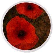 Brocade Textured Poppies Round Beach Towel