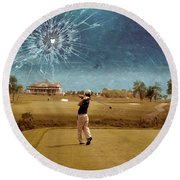 Broken Glass Sky Round Beach Towel