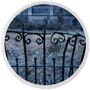 Broken Iron Fence By Old House Round Beach Towel