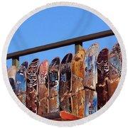 Broken Skateboard Fence Round Beach Towel