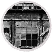 Broken Windows In Black And White Round Beach Towel