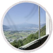 Broken Windows With Panoramic View Round Beach Towel