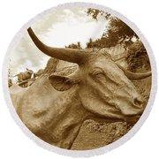 Bronze Longhorn Round Beach Towel