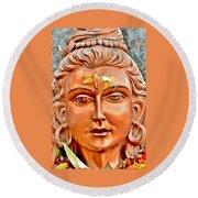 Bronze Shiva Statue - Uttarkashi India Round Beach Towel