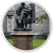 Bronze Statue Of Sir Benjamin Lee Guinness  Round Beach Towel