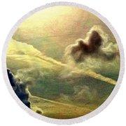 Bronzed Clouds - Vertical Round Beach Towel
