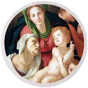 Bronzino's The Holy Family Round Beach Towel