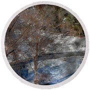 Brook And Bare Trees - Winter - Steel Engraving Round Beach Towel