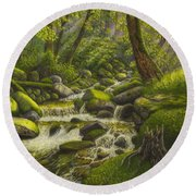 Brook In The Forest Round Beach Towel