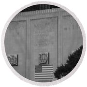 Brooklyn Battery Tunnel In Black And White Round Beach Towel