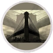Brooklyn Bridge Abstract Round Beach Towel