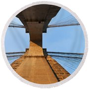 Brooklyn Bridge Abstract Round Beach Towel