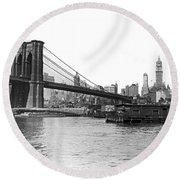 Brooklyn Bridge And Ny Skyline Round Beach Towel