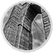 Brooklyn Bridge Arch - Vertical Round Beach Towel