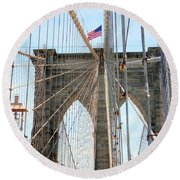 Brooklyn Bridge Cables Round Beach Towel