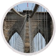 Brooklyn Bridge Cables Nyc Round Beach Towel