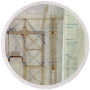 Brooklyn Bridge: Diagram Round Beach Towel
