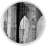 Brooklyn Bridge New York City Usa Round Beach Towel
