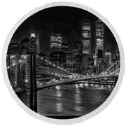 Brooklyn Bridge New York Round Beach Towel