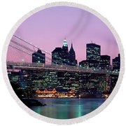 Brooklyn Bridge New York Ny Usa Round Beach Towel