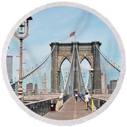 Brooklyn Bridge - New York Round Beach Towel