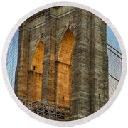 Brooklyn Bridge Tower Round Beach Towel